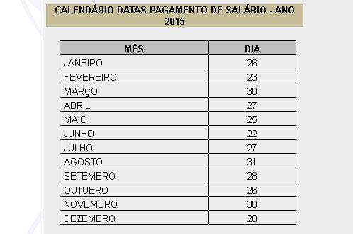 Calendário de pagamento 2015 - Prefeitura Municipal de Porto Velho